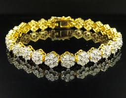 diamond flower bracelet images Yellow gold finish flower real diamond bracelet 0 75 ct 8 quot jpg
