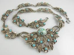 vintage wedding necklace images 1950s turquoise silver flower vintage choker necklace vintage JPG