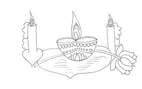 beautiful candle lights for diwali coloring page netart