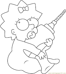 maggie simpson with drill machine coloring page free maggie