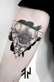 black rose and triangle tattoo