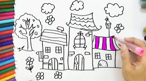how to draw and coloring house tree in the garden easy bodraw