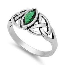 celtic knot ring 9mm sterling silver green simulated emerald marquis