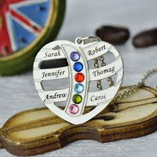 Personalized Family Necklace Silver Birthstone Family Name Necklace Heart With Kids Name Mother