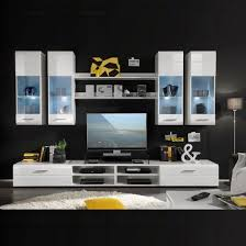 Gloss White Living Room Furniture Living Room Furniture Set In White Gloss With Led Light