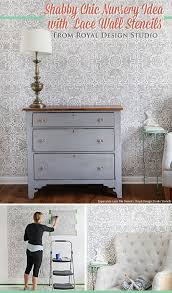 diy shabby chic nursery idea with lace wall stencils royal
