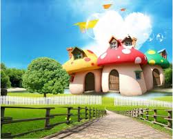 wallpaper cute house beibehang 3d animation fashion wallpaper fairy tale mushroom house