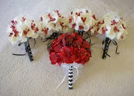 Red Orchids Wedding Bouquet Set In Red Real Touch Orchids And Ivory And Red