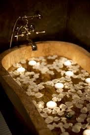 white rose petal bath with candles weekends pinterest