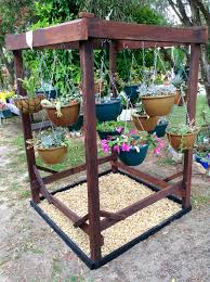 Lucca Steel Leaf Gazebo Cover by Triple Hanging Basket Stand Ideal For Displaying Those Hanging