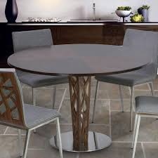 dining room table ls crystal 48 round dining table in walnut veneer column and brushed