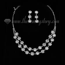 prom jewelry wedding bridal prom rhinestone floral neckalces jewelry sets wholesale