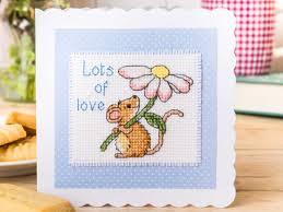 mouse card free chart cross stitching