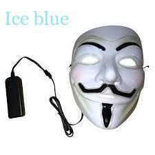 9 color light up led guy fawkes for vendetta mask el wire mask edm