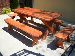 picnic table bench plans 6ft redwood picnic table and 4 benches