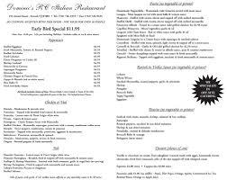 early bird specials menu dominic u0027s italian restaurant