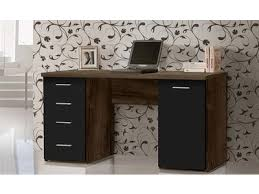 bureau avec tiroir bureau 1 porte et 4 tiroirs abro 2 chene marron noir mat