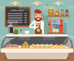 coffee shop interior seller bakery taste sweets flat design vector