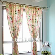 country shabby chic unique organic floral curtains with pink flowers