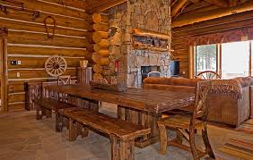 Log Dining Room Table Incline Village Upscale Rustic Rental Log Home