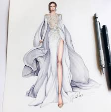 zuhair murad sketch sketching draw drawing fashion