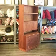 mid century teak bookcase secretary desk