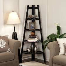 wood corner bookcase wonderful espresso corner ladder shelf with shade floor lamps also
