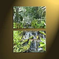 Waterfall Home Decor 2 Piece Green Canvas Scenery Forest Wall Art