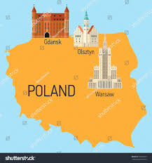 Flat Map Of World by Vector Flat Travel Map Poland Building Stock Vector 502850329