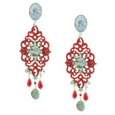 clip on chandelier earrings clip turquoise and coral chandelier earrings by satellite