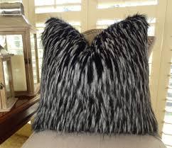 White Bedroom Throw Pillows Black White Fur Throw Pillow Wolf Faux Fur Pillow Cover