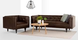 connor 3 seater sofa vintage brown premium leather made com