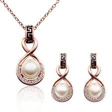pearl rose necklace images 18k rose gold plated simulated pearl jewelry sets jpg