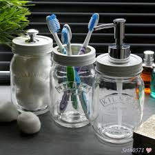 Mason Jar Bathroom Decor Mason Jar Vintage Glass Bathroom Accessory Set With White U0026 Chrome