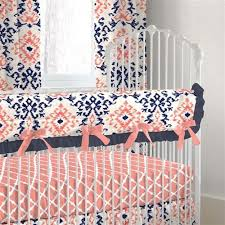 Navy And Coral Crib Bedding Navy And Coral Ikat Crib Bedding Carousel Designs