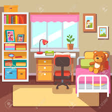 preschool or student girls room interior study desk at