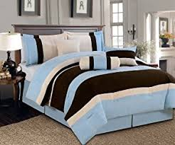 coupon for 7 pc beautiful blue brown beige micro suede comforter
