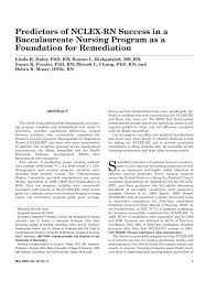 predictors of nclex rn success in a baccalaureate nursing program