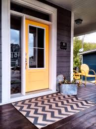Yellow Chevron Outdoor Rug Front Porch With Stained Cedar Yellow Door And Chevron Rug Make