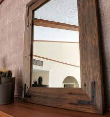 Wood Framed Bathroom Mirrors by Innovative Wood Framed Bathroom Mirrors On Reclaimed Wood Mirror