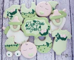 twin baby shower cookies pea in a pod cookies gender neutral