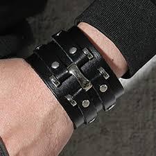 black leather strap bracelet images Wide black handmade leather cuff bracelet with 2 studded strips jpg