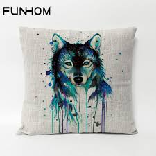 wolf home decor creative watercolour wolf cushions wolf head pillow cushion linen
