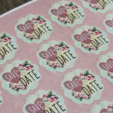 save the date stickers save the date pink floral square stickers x 35 wedding engagement