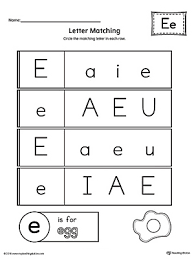 letter e uppercase and lowercase matching worksheet