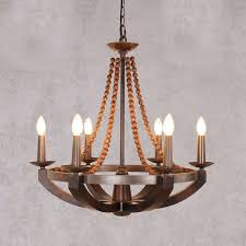 wood bead ceiling light rustic iron burnished sculpted wood beads candelabra chandelier