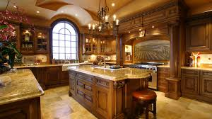 interior luxury kitchens with wood kitchen island and round