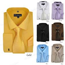 milano moda solid classic dress shirt with tie hankie u0026 french