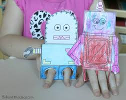 4 robot finger puppets brilliant little ideas