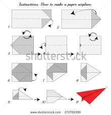 instructions how make paper airplane paper stock vector 272708399